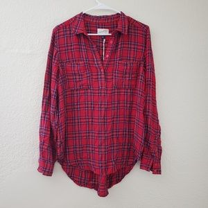 Plaid Long Sleeve Tunic Universal Thread Red M